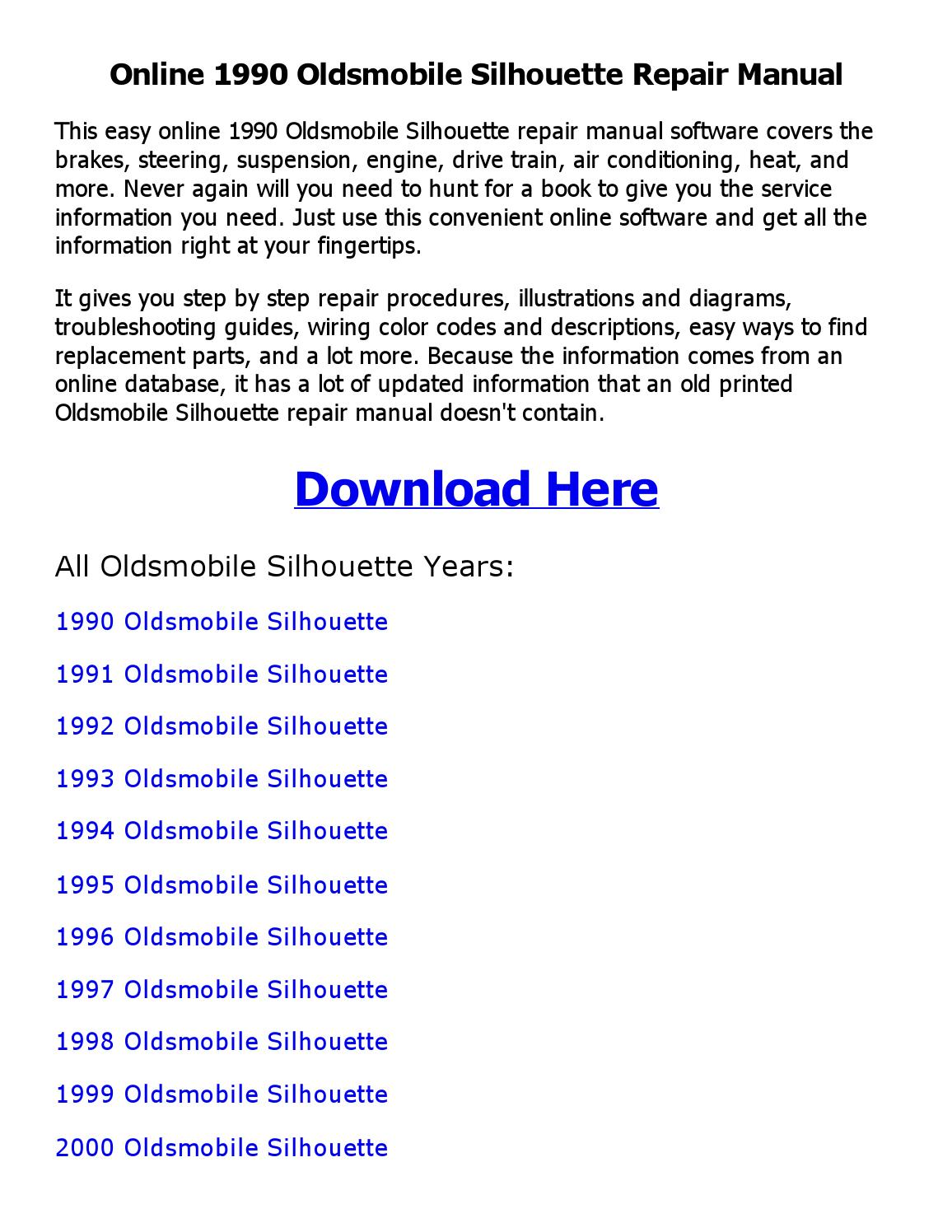 2002 oldsmobile silhouette parts manual