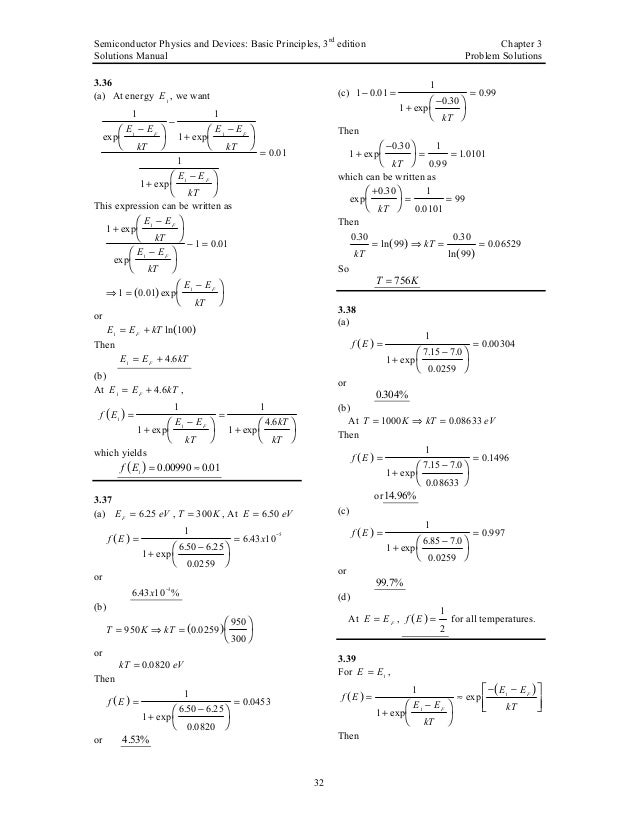 semiconductor physics and devices basic principles solution manual