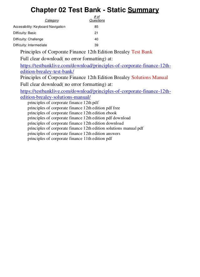 principles of corporate finance 12th edition solutions manual pdf free