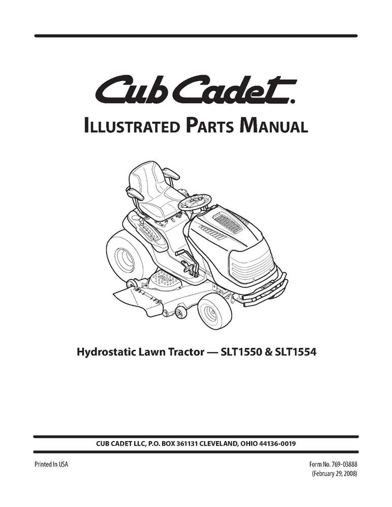 cub cadet super lt 1554 parts manual