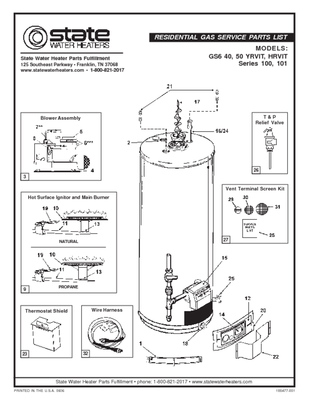 state water heater parts manual